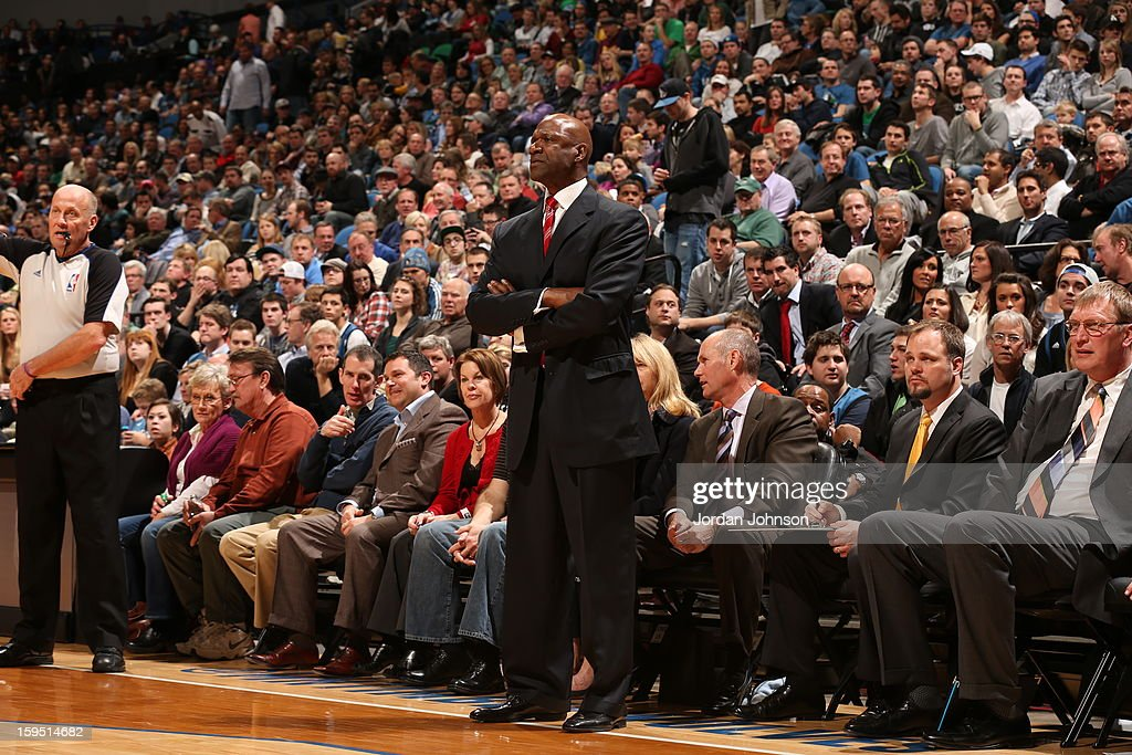 <a gi-track='captionPersonalityLinkClicked' href=/galleries/search?phrase=Terry+Porter&family=editorial&specificpeople=204527 ng-click='$event.stopPropagation()'>Terry Porter</a> assistant coach of the Minnesota Timberwolves, fills the spot as head coach for the night against the Atlanta Hawks on January 8, 2013 at Target Center in Minneapolis, Minnesota.