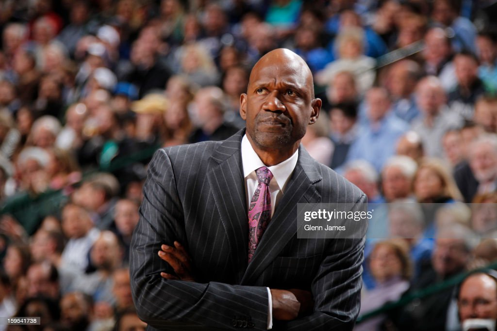 Terry Porter Assistant Coach of the Minnesota Timberwolves looks on during the game against the Dallas Mavericks on January 14, 2013 at the American Airlines Center in Dallas, Texas.