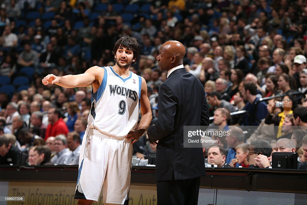 Terry Porter fills in as Head Coach of the Minnesota Timberwolves, and instructs Ricky Rubio #9 during the game against the Atlanta Hawks on January 8, 2013 at Target Center in Minneapolis, Minnesota.