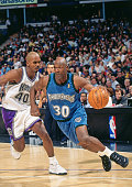 Terry Porter of the Minnesota Timberwolves dribbles against the Sacramento Kings circa 1997 at Arco Arena in Sacramento California NOTE TO USER User...