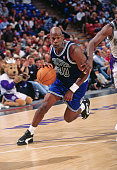 Terry Porter of the Minnesota Timberwolves dribbles against the Sacramento Kings circa 1996 at Arco Arena in Sacramento California NOTE TO USER User...