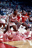 Terry Porter of the Portland Trail Blazers dribbles during a game against the Atlanta Hawks played circa 1987 at the Veterans Memorial Coliseum in...