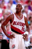 Terry Porter of the Portland Trail Blazers looks on during a game played in 1992 at the Veterans Memorial Coliseum in Portland Oregon NOTE TO USER...