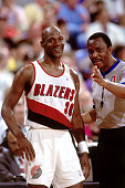 Terry Porter of the Portland Trail Blazers reacts to a call during a game played in 1992 at the Veterans Memorial Coliseum in Portland Oregon NOTE TO...