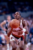 Terry Porter of the Portland Trail Blazers shoots a free throw during a game played circa 1987 at the Veterans Memorial Coliseum in Portland Oregon...