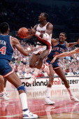 Terry Porter of the Portland Trail Blazers shoots a layup during a game against the New York Knicks played circa 1987 at the Veterans Memorial...