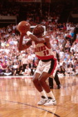 Terry Porter of the Portland Trail Blazers shoots during a game played in 1992 at the Veterans Memorial Coliseum in Portland Oregon NOTE TO USER User...