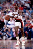 Terry Porter of the Portland Trailblazers dribbles the ball during a game played circa 1987 at the Veterans Memorial Coliseum in Portland Oregon NOTE...