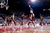 Terry Porter of the Portland Trailblazers shoots against the Golden State Warriors at the Veterans Memorial Coliseum in Portland Oregon circa 1987...