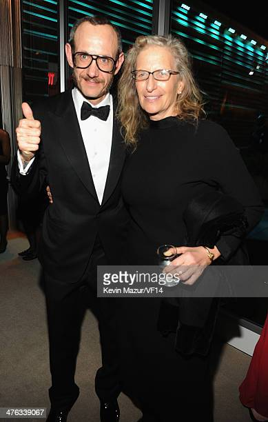 Terry Richardson and Annie Leibovitz attend the 2014 Vanity Fair Oscar Party Hosted By Graydon Carter on March 2 2014 in West Hollywood California