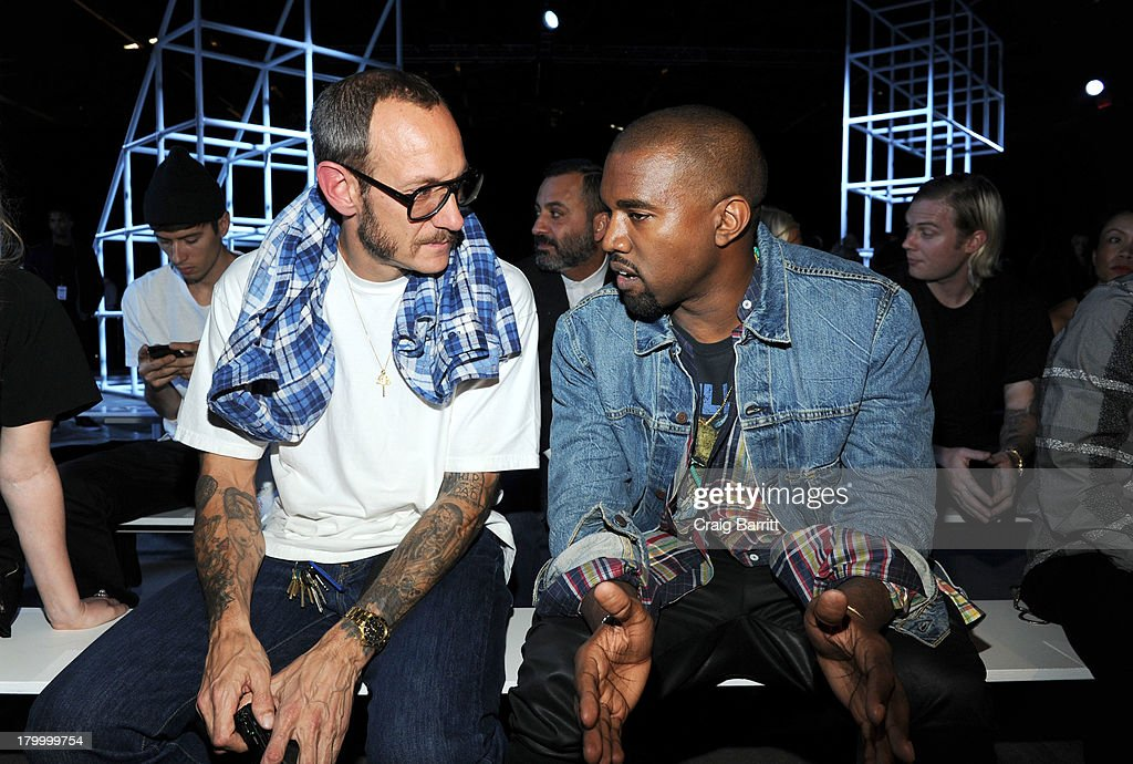 <a gi-track='captionPersonalityLinkClicked' href=/galleries/search?phrase=Terry+Richardson&family=editorial&specificpeople=758714 ng-click='$event.stopPropagation()'>Terry Richardson</a> and <a gi-track='captionPersonalityLinkClicked' href=/galleries/search?phrase=Kanye+West+-+Musician&family=editorial&specificpeople=201803 ng-click='$event.stopPropagation()'>Kanye West</a> attend the Alexander Wang fashion show during Mercedes-Benz Fashion Week Spring 2014 at Pier 94 on September 7, 2013 in New York City.