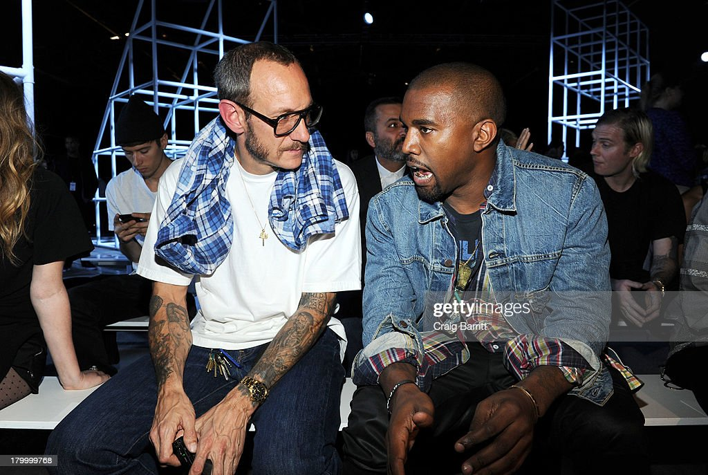 Terry Richardson and Kanye West attend the Alexander Wang fashion show during Mercedes-Benz Fashion Week Spring 2014 at Pier 94 on September 7, 2013 in New York City.