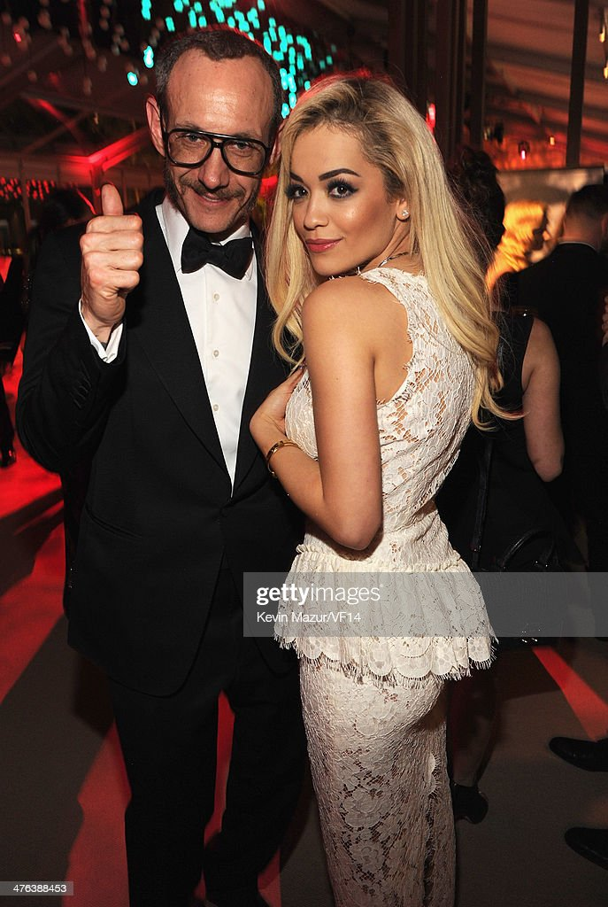 Terry Richardson and Rita Ora attend the 2014 Vanity Fair Oscar Party Hosted By Graydon Carter on March 2, 2014 in West Hollywood, California.