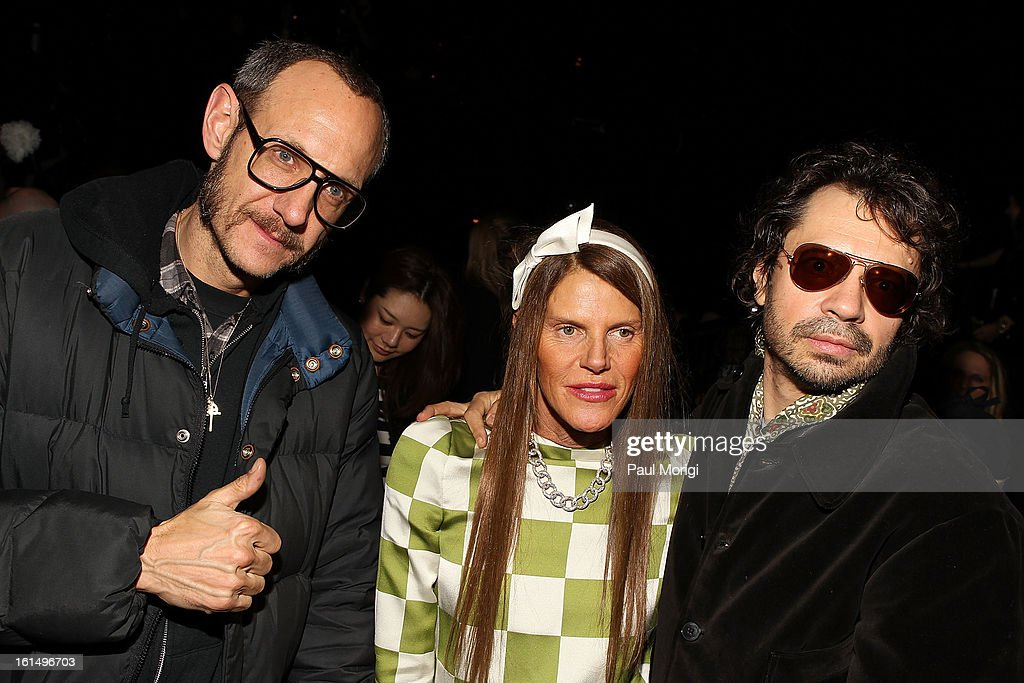 <a gi-track='captionPersonalityLinkClicked' href=/galleries/search?phrase=Terry+Richardson&family=editorial&specificpeople=758714 ng-click='$event.stopPropagation()'>Terry Richardson</a> (L), Anna dello Russo and Olivier Zahm attend Marc By Marc Jacobs during Fall 2013 Mercedes-Benz Fashion Week at The Theater at Lincoln Center on February 11, 2013 in New York City.