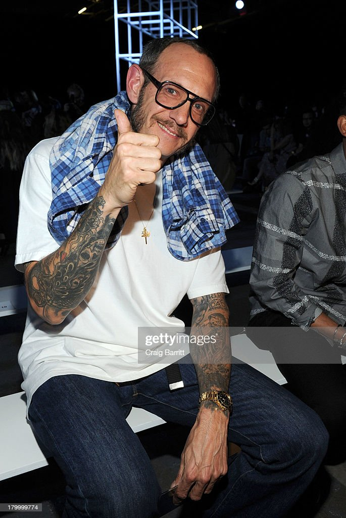 <a gi-track='captionPersonalityLinkClicked' href=/galleries/search?phrase=Terry+Richardson&family=editorial&specificpeople=758714 ng-click='$event.stopPropagation()'>Terry Richardson</a> attends the Alexander Wang fashion show during Mercedes-Benz Fashion Week Spring 2014 at Pier 94 on September 7, 2013 in New York City.