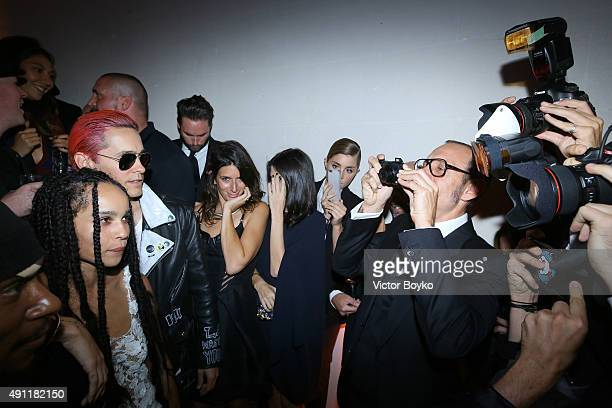 Terry Richardson takes a picture of Jared Leto and Zoe Kravitz during Vogue 95th Anniversary Party on October 3 2015 in Paris France