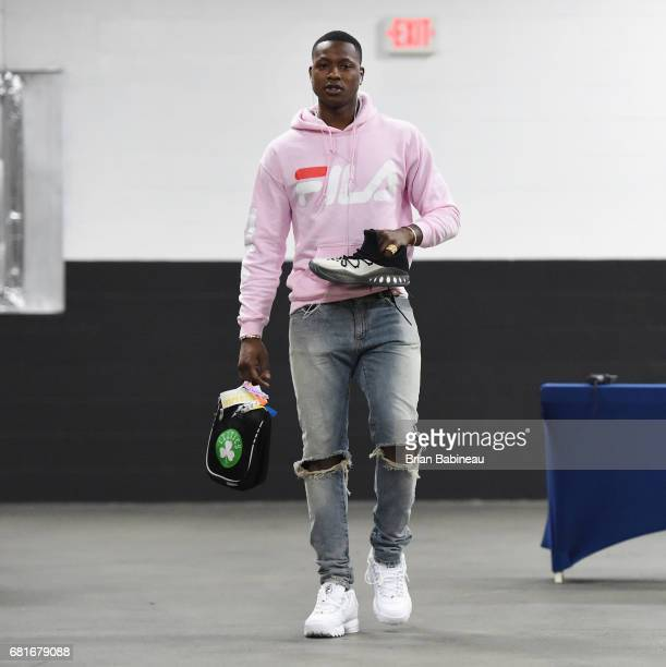 Terry Rozier of the Boston Celtics arrives before Game Five of the Eastern Conference Semifinals of the 2017 NBA Playoffs on May 10 2017 at the TD...