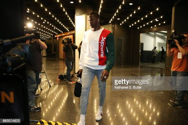 Terry Rozier of the Boston Celtics arrives before the game against the Washington Wizards during Game Seven of the Eastern Conference Semifinals of...