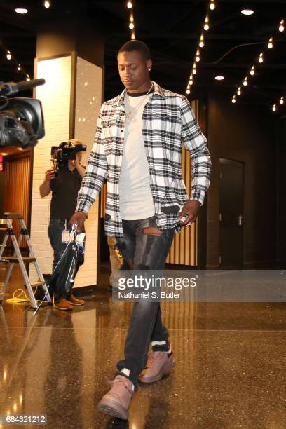 Terry Rozier of the Boston Celtics arrives before the game against the Cleveland Cavaliers in Game One of the Eastern Conference Finals during the...