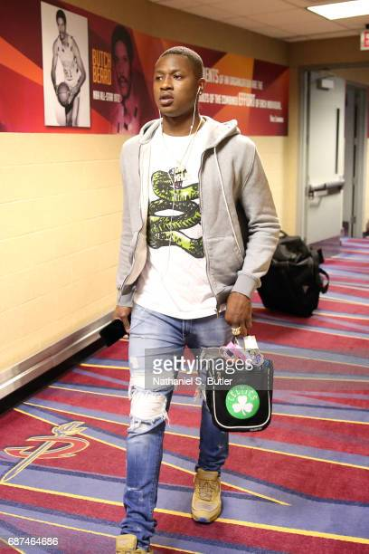 Terry Rozier of the Boston Celtics arrives before the game against the Cleveland Cavaliers in Game Four of the Eastern Conference Finals during the...