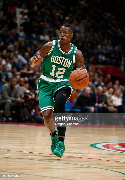 Terry Rozier of the Boston Celtics dribbles against Emporio Armani Milano as part of the 2015 Global Games on October 6 2015 at the Mediolanum Forum...