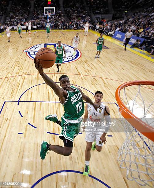 Terry Rozier of the Boston Celtics drives to the basket against Real Madrid as part of the 2015 Global Games on October 8 2015 at the Barclaycard...