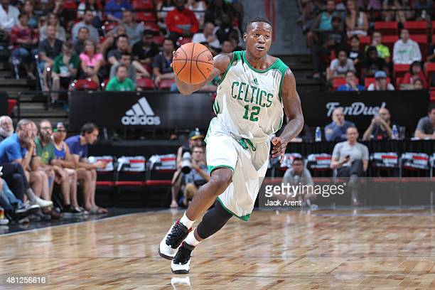 Terry Rozier of the Boston Celtics drives to the basket against the San Antonio Spurs during the game on July 18 2015 at Thomas And Mack Center Las...