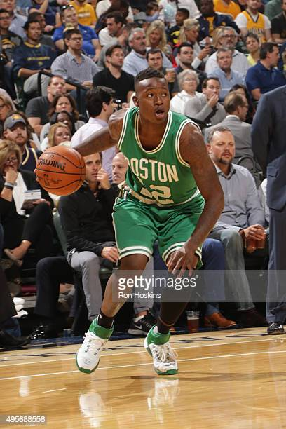 Terry Rozier of the Boston Celtics drives to the basket against the Indiana Pacers during the game on November 4 2015 at Bankers Life Fieldhouse in...