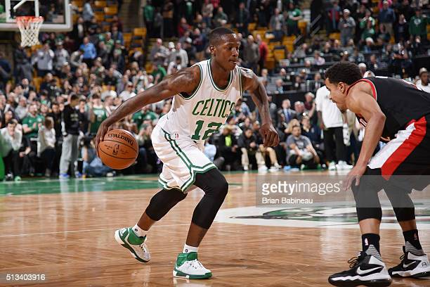 Terry Rozier of the Boston Celtics drives to the basket against the Portland Trail Blazers during the game on March 2 2016 at TD Garden in Boston...