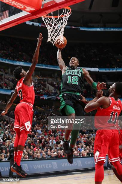 Terry Rozier of the Boston Celtics drives to the basket against the Chicago Bulls on December 11 2017 at the United Center in Chicago Illinois NOTE...