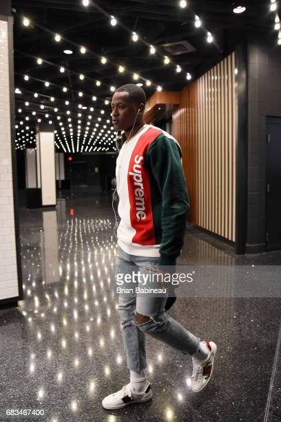 Terry Rozier of the Boston Celtics enters the arena before the game against the Washington Wizards during Game Seven of the Eastern Conference...