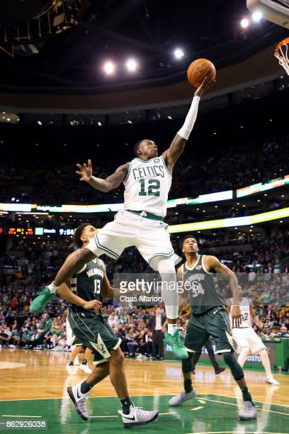 Terry Rozier of the Boston Celtics goes to the basket against the Milwaukee Bucks on October 18 2017 at the TD Garden in Boston Massachusetts NOTE TO...