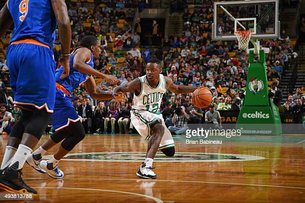 Terry Rozier of the Boston Celtics handles the ball against the New York Knicks during a preseason game on October 22 2015 at the TD Garden in Boston...