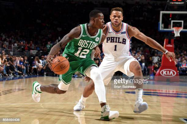 Terry Rozier of the Boston Celtics handles the ball against the Philadelphia 76ers on October 6 2017 in Philadelphia Pennsylvania at the Wells Fargo...