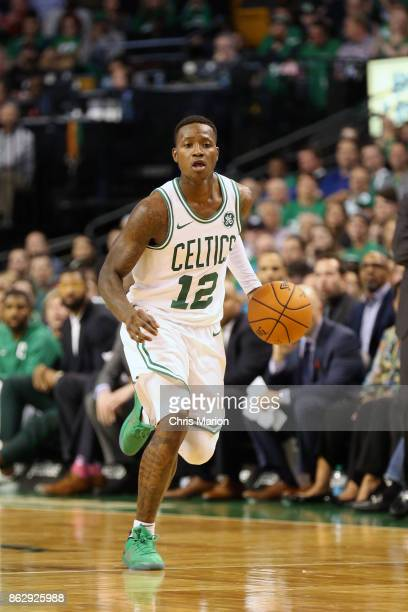 Terry Rozier of the Boston Celtics handles the ball against the Milwaukee Bucks on October 18 2017 at the TD Garden in Boston Massachusetts NOTE TO...