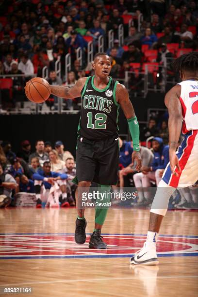 Terry Rozier of the Boston Celtics handles the ball against the Detroit Pistons on December 10 2017 at Little Caesars Arena in Detroit Michigan NOTE...