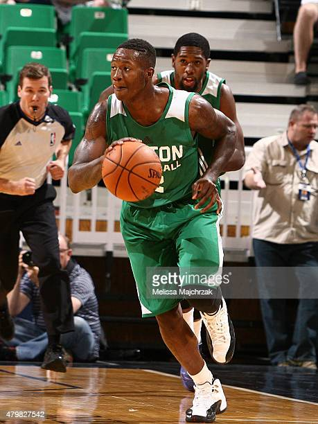 Terry Rozier of the Boston Celtics handles the ball against the Philadelphia 76ers during the NBA Summer League on July 6 2015 at EnergySolutions...