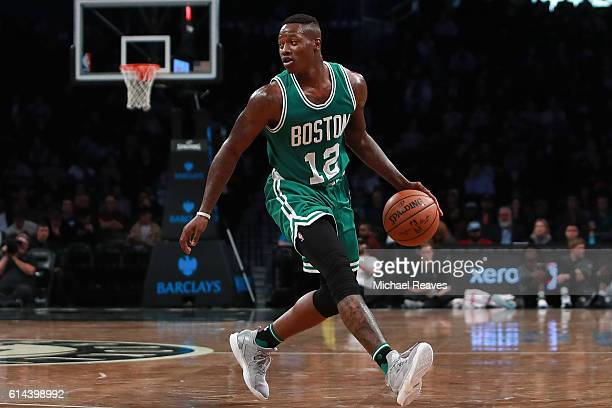 Terry Rozier of the Boston Celtics in action in the second half of the preseason game against the Brooklyn Nets at Barclays Center on October 13 2016...