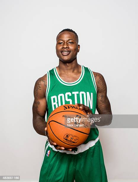 Terry Rozier of the Boston Celtics poses for a portrait during the 2015 NBA rookie photo shoot on August 8 2015 at the Madison Square Garden Training...
