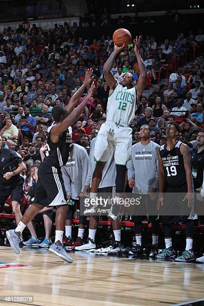 Terry Rozier of the Boston Celtics shoots against the San Antonio Spurs during the game on July 18 2015 at Thomas And Mack Center Las Vegas Nevada...