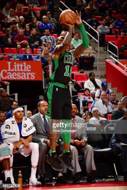 Terry Rozier of the Boston Celtics shoots the ball against the Detroit Pistons on December 10 2017 at Little Caesars Arena in Detroit Michigan NOTE...