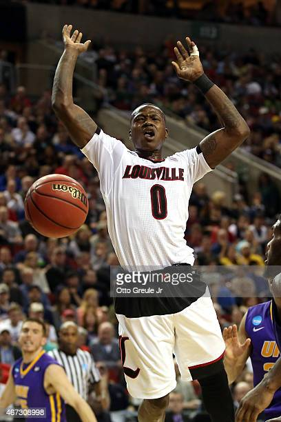 Terry Rozier of the Louisville Cardinals looses the ball against the Northern Iowa Panthers in the first half of the game during the third round of...