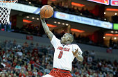 Terry Rozier of the Louisville Cardinals shoots the ball during the game against the Miami Hurricanes at KFC YUM Center on February 21 2015 in...