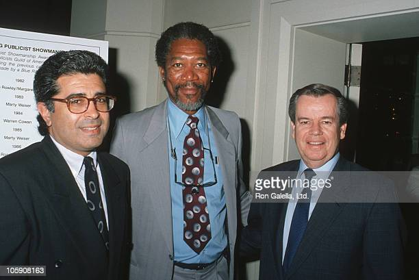 Terry Semel Morgan Freeman and Bobby Daly during 27th Annual Publicists Guild of America Awards at Beverly Hilton Hotel in Beverly Hills California...