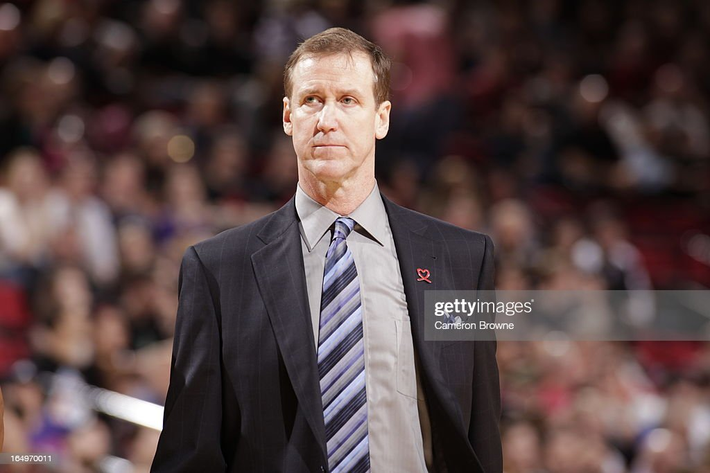 <a gi-track='captionPersonalityLinkClicked' href=/galleries/search?phrase=Terry+Stotts&family=editorial&specificpeople=653534 ng-click='$event.stopPropagation()'>Terry Stotts</a>, Head Coach of the Portland Trail Blazers, looks on during the game against the Utah Jazz on March 29, 2013 at the Rose Garden Arena in Portland, Oregon.