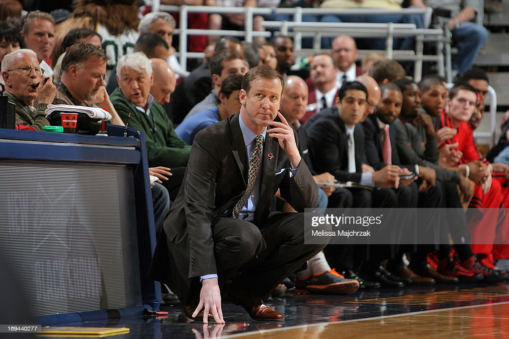 <a gi-track='captionPersonalityLinkClicked' href=/galleries/search?phrase=Terry+Stotts&family=editorial&specificpeople=653534 ng-click='$event.stopPropagation()'>Terry Stotts</a>, Head Coach of the Portland Trail Blazers, looks on during the game against the Utah Jazz at Energy Solutions Arena on April 1, 2013 in Salt Lake City, Utah.