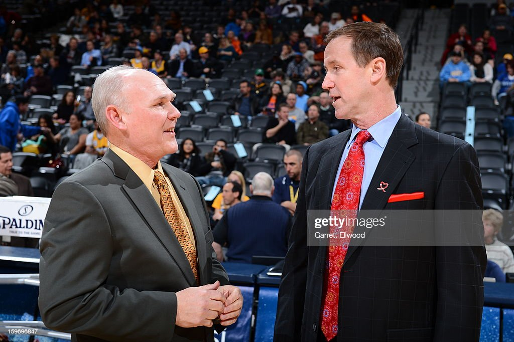 Terry Stotts of he Portland Trail Blazers talks with George Karl of the Denver Nuggets on January 15, 2013 at the Pepsi Center in Denver, Colorado.