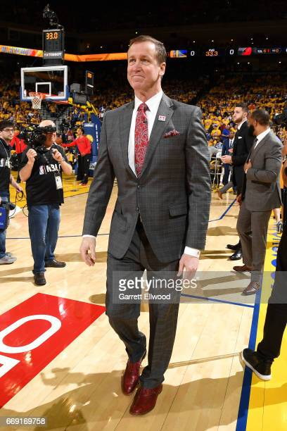 Terry Stotts of the Portland Trail Blazers looks on before the game against the Golden State Warriors during the Western Conference Quarterfinals of...