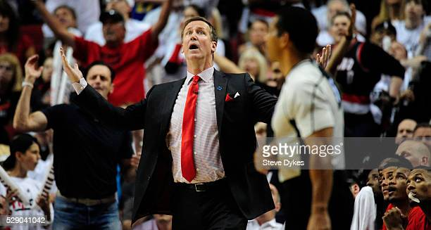 Terry Stotts of the Portland Trail Blazers reacts to an officials call in the fourth quarter of Game Three of the Western Conference Semifinals...