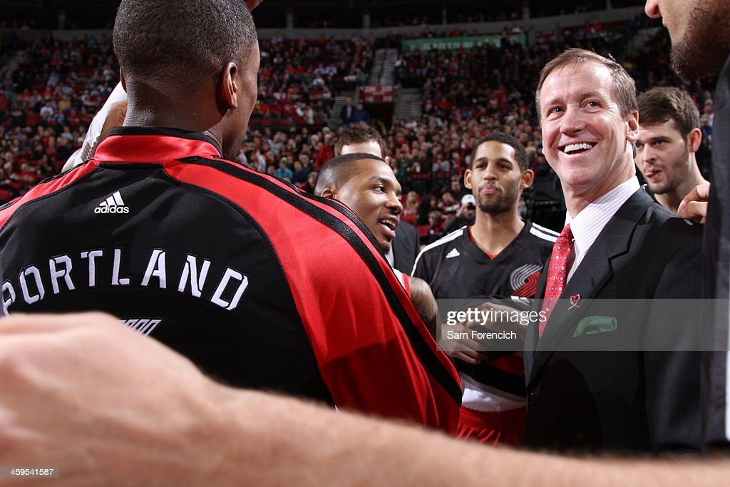 <a gi-track='captionPersonalityLinkClicked' href=/galleries/search?phrase=Terry+Stotts&family=editorial&specificpeople=653534 ng-click='$event.stopPropagation()'>Terry Stotts</a> of the Portland Trail Blazers smiles against the New Orleans Pelicans on December 21, 2013 at the Moda Center Arena in Portland, Oregon.